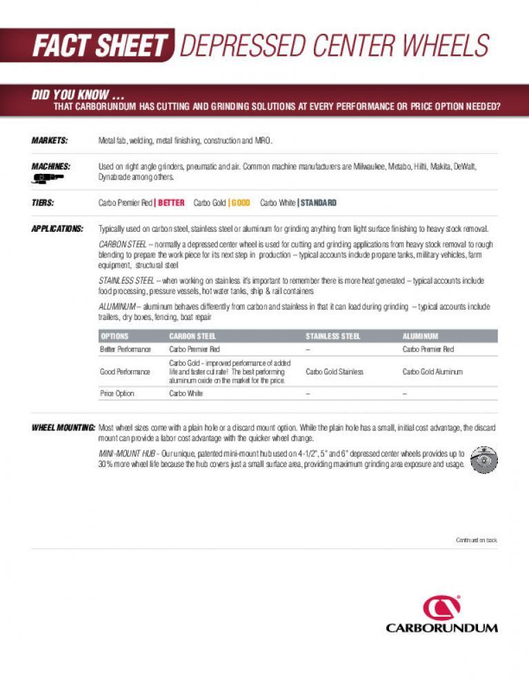 Fact Sheet - Depressed Center wheels CA3554