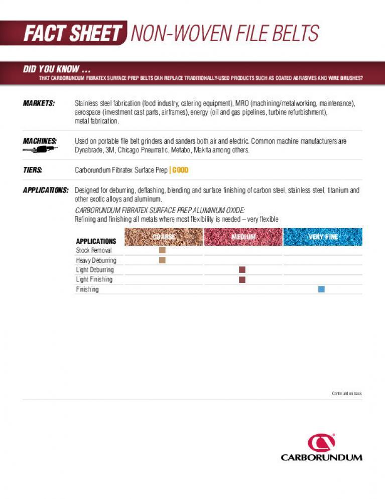 Fact Sheet - Non-Woven File Belts CA 3556