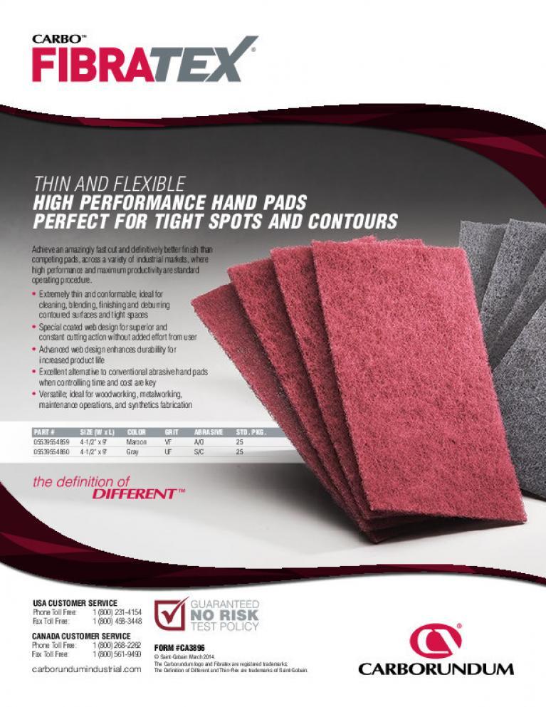 Carbo Fibratex Non-Woven Hand Pads Flyer - CA3896
